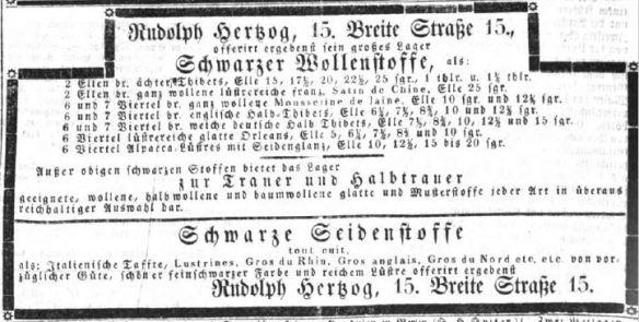 000_Berlinische Nachrichten von Staats- und gelehrten Sachen_1857_03_01_Nr61_Rudolph-Hertzog_Wollwaren_Seidenstoffe