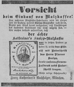 Allgemeine Zeitung_1892_04_09_Nr100_p04_Malzkaffee_Kathreiner_Kneipp_Markenartikel_Plagiate