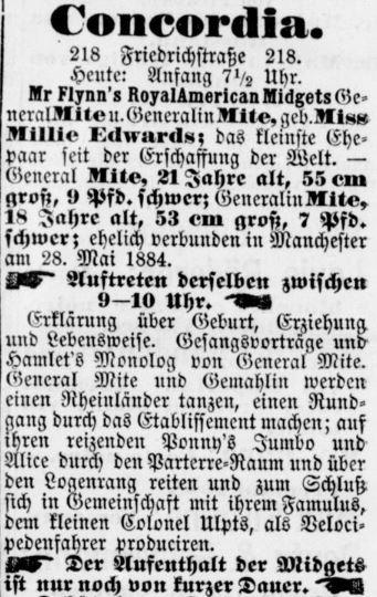 Berliner Börsen-Zeitung_1885_04_11_p14_General-Mite_Schaustellerei_Concordia-Theater
