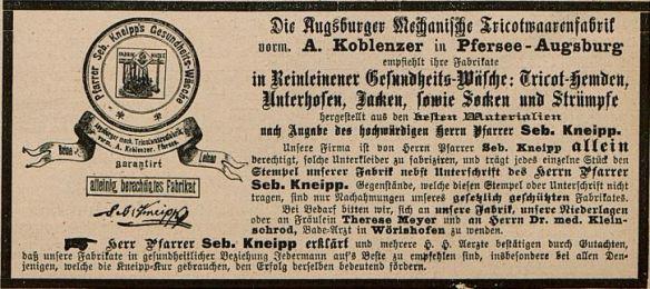Fliegende Blätter_092_1890_Nr2341_Beibl_p09_Kneipp_Gesundheitswäsche_Augsburg_Naturheilkunde