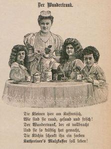 Fliegende Blätter_102_1895_Nr2580_Beibl_p07_Kathreiner_Malzkaffee_Kinder_Kaffeetrinken_Bürgertum_Köchin