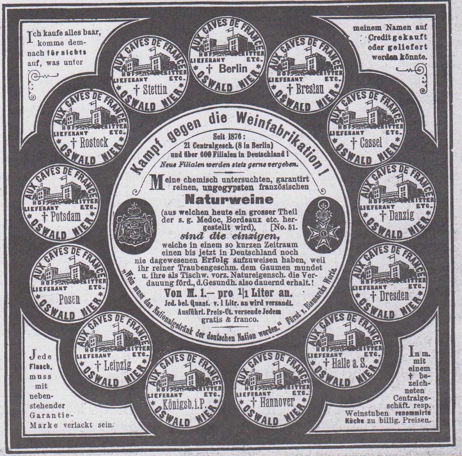 04-Fliegende Blätter_082_1885_Nr2064_Beibl_p02_Wein_Naturwein_Oswald-Nier_Garantiemarke