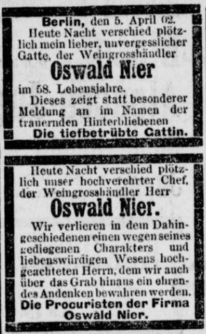 10-Berliner Tageblatt_1902_04_06_Nr172_p11_Oswald-Nier_Todesanzeigen