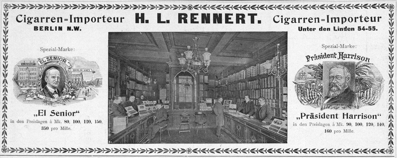 04_Berliner Leben_08_1905_Nr12_sp_Zigarrenhandlung_Verkaufsräume_Verkäufer_H-L-Rennert_Präsident-Harrison