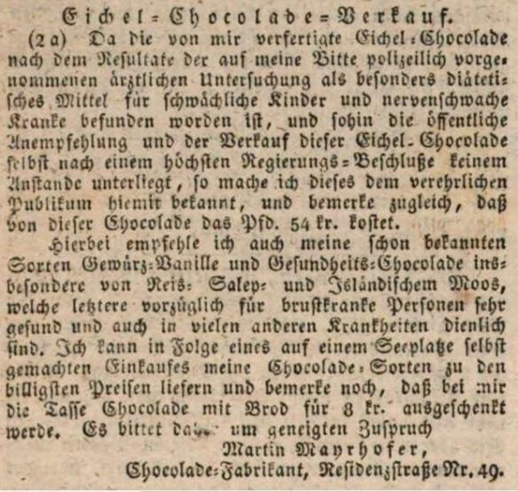 01_Der Bayerische Volksfreund_1827_12_13_N159_p744_Eichelschokolade_Martin-Mayrhofer_München
