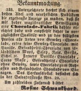 03_Der Bayerische Volksfreund_1843_06_18_Nr097_p388_Eichelschokolade_Schokolade_Rosine-Schwankhard_München