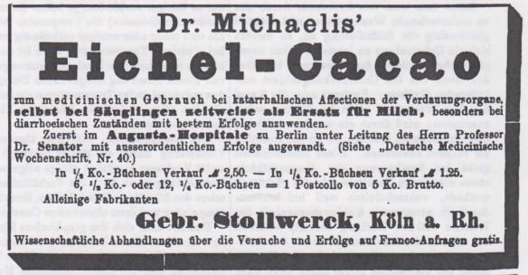 04_Pharmaceutische Centralhalle_26_1885_5Sn536_Eichelkakao_Dr-Michaelis_Stollwerck_Köln