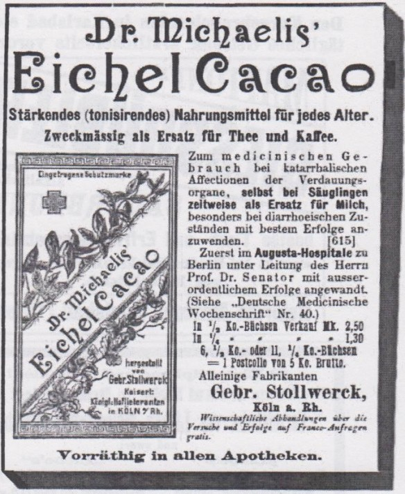 05_Breslauer Aerztliche Zeitschrift_07_1885_p276_Eichelkakao_Dr-Michaelis_Stollwerck_Köln
