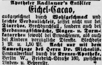 06_Berliner Tageblatt_1887_09_14_Nr464_p07_Eichelkakao_Wirtschaftskriminalität_Markenrecht_Radlauer