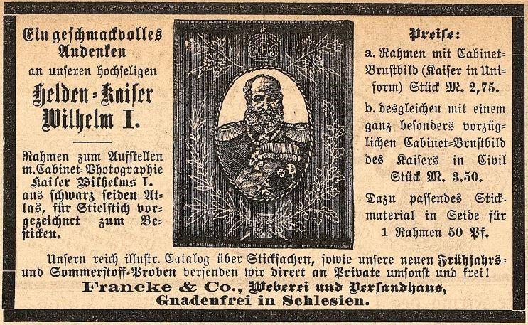 02_Fliegende Blätter_088_1888_Nr2231_p10_Erinnerungskultur_WilhelmI_Wandstickerei_Francke_Gnadenfrei