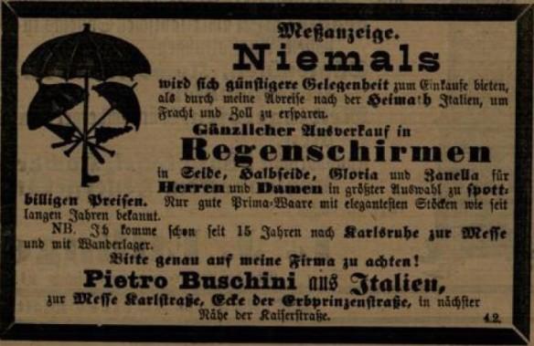 03_Anzeige eines Wanderlagers 1888_Karlsruher Tageblatt_1888_11_07_Nr306_p4191
