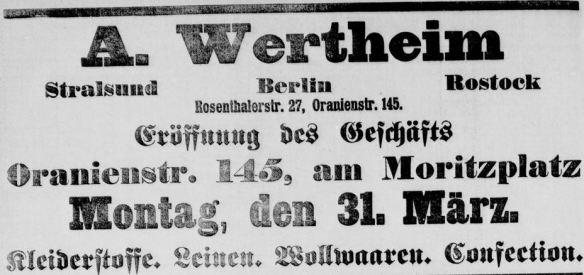 06a_Berliner Tageblatt_1890_03_30_Nr163_p20_Spezialgeschäft_Wertheim_Oranienstraße_Manufakturwaren_b