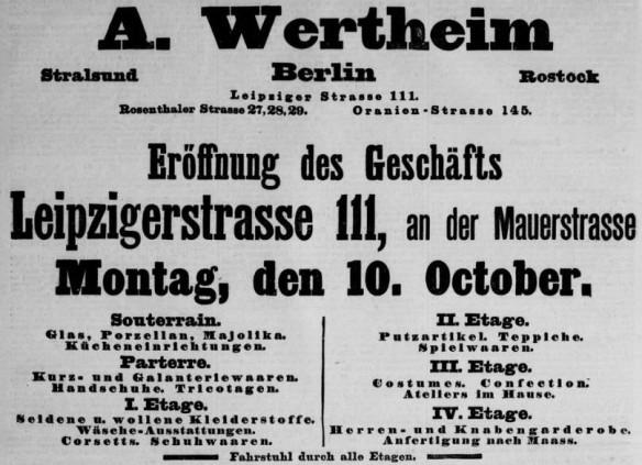 07_Geschäftseröffnung Wertheim Leipzigerstraße 111_Berliner Tageblatt_1892_09_09_Nr513_p4