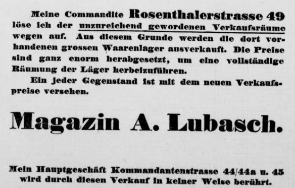 08_Geschäftsauflösung Lubasch Rosenthalerstraße 49_Berliner Tageblatt_1895_07_19_Nr472_p15