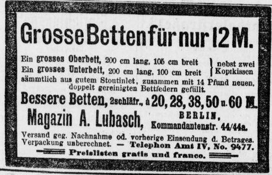11_Anzeige Magazin A. Lubasch_Volks-Zeitung_1897_03_21_Nr235_p8
