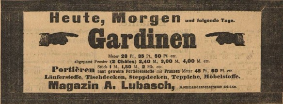 12_Anzeige Magazin A. Lubasch_Vorwärts_1899_03_15_Nr063_p9