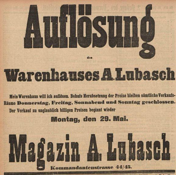 13_Auflösung Magazin A. Lubasch_Vorwärts_1899_05_25_Nr119_p10