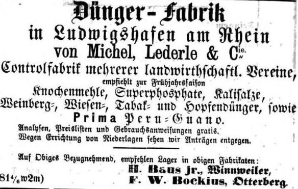 03_Kaiserslauterer Wochenblatt und Plakat-Anzeiger_1868_04_11_Nr15_p2_Düngemittel_Knochenmehl_Michel-Lederle_Ludwigshafen