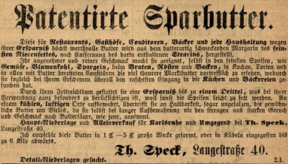 11_Karlsruher Tagblatt_1875_07_08_Nr184_p6_Margarine_Sparbutter