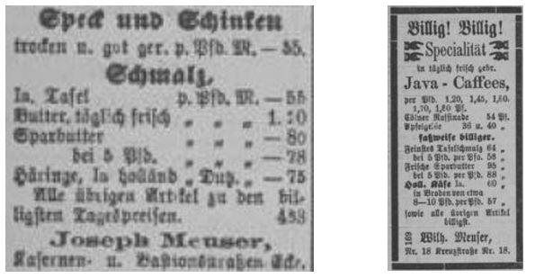 13_Düsseldorfer Volksblatt_1877_11_10_Nr302_p4 und 02_14_p4_Margarine_Sparbutter_Kolonialwarenhandel