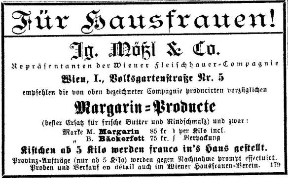 18_Wiener Hausfrauen-Zeitung_12_1886_141_Margarine_Ignaz-Mößl_Wien_Backen