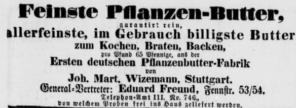 19_Vossische Zeitung_1891_04_17_Nr171_p15_Margarine_Pflanzenbutter_Wizemann_Stuttgart