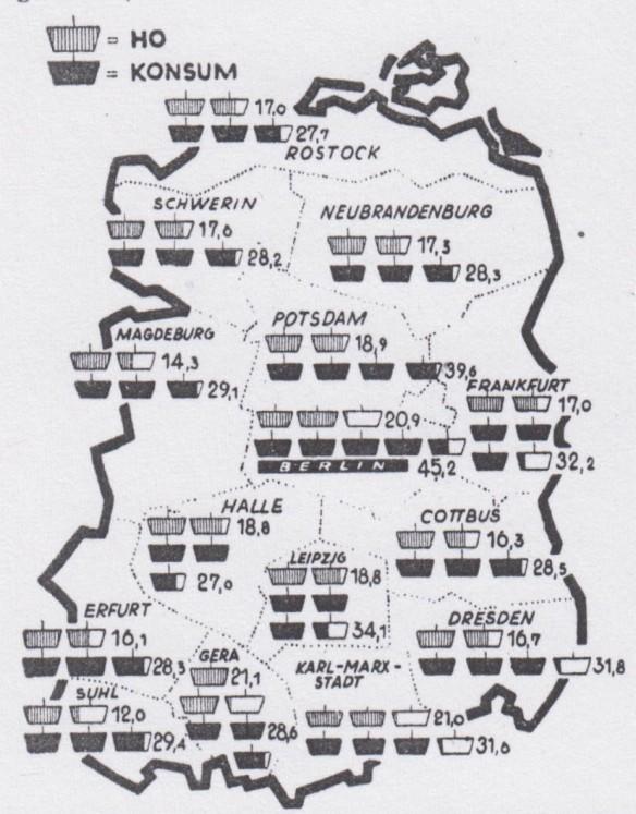 16_Handelswoche_06_1961_Nr26_p10_DDR_Einzelhandel_Selbstbedienung_HO_Konsumgenossenschaften_Karte_Statistik