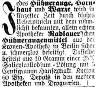 02_Dresdner Nachrichten_1900_05_30_Nr147_p22_Hühneraugenmittel_Radlauer_Berlin_Hanfpräparate