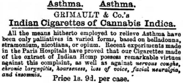 04_Lancester Gazette_1872_09_07_Nr4454_p7_Medizinalzigaretten_Grimault_Hanfzigaretten