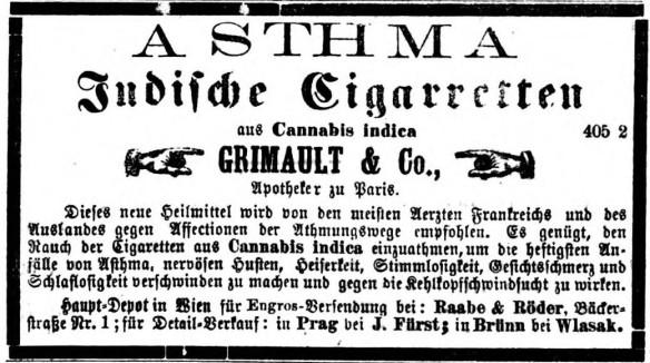 05_Die Neue Zeit_1873_04_20_Nr091_p6_Medizinalzigaretten_Grimault_Asthma_Hanfzigaretten