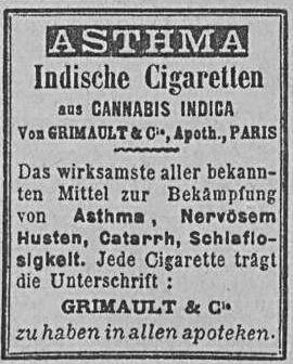 07_Allgemeine Zeitung_1902_02_16_Nr046_p10_Medizinalzigaretten_Grimault_Asthma_Hanfzigaretten_München