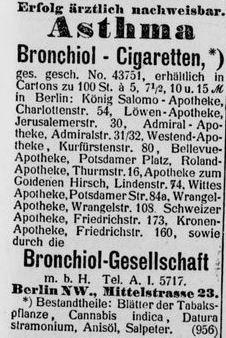 08_Berliner_Börsen-Zeitung_1901_01_24_Nr039_Medizinalzigaretten_Bronchiol_Berlin_Asthma_Hanfzigaretten