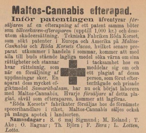 08_Kalmar_1894_05_05_p3_Hanfpräparate_Maltos-Cannabis_Röda-Korset_Stockholm