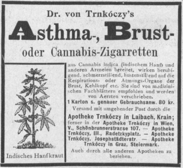 09_Fremden-Zeitung_1898_12_17_Nr010_p12_Medizinalzigaretten_Trnkoczy_Laibach_Asthma_Hanfzigaretten