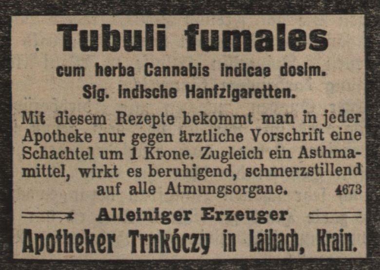 10_Illustrierte Kronen-Zeitung_1910_01_08_Nr3600_p13_Medizinalzigaretten_Trnkoczy_Laibach_Asthma_Hanfzigaretten