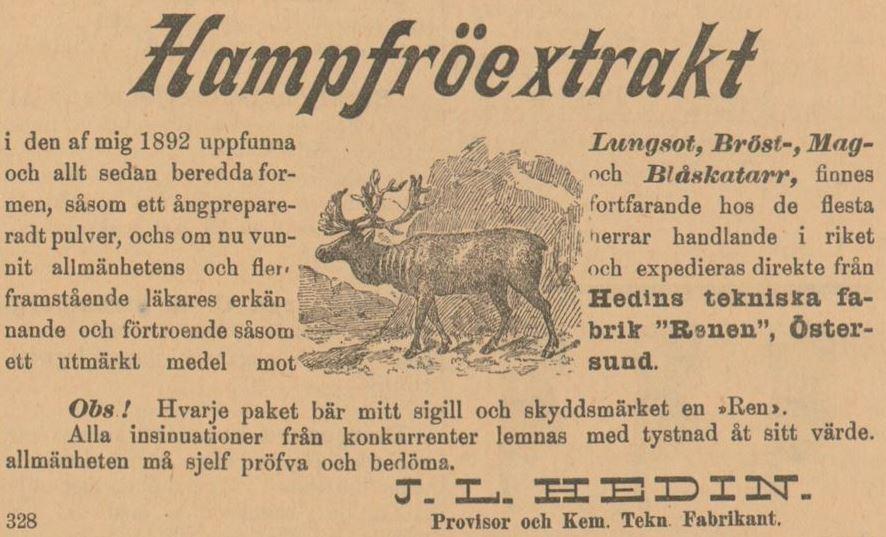 11_Östersundenposten_1904_02_15_p1_Hanfpräparate_Maltos-Cannabis_Hedin_Rentier_Östersund