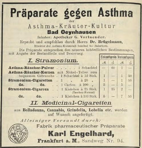 11_Süddeutsche Apotheker-Zeitung_35_1895_p712_Medizinalzigaretten_Apotheker_Versandgeschäft_Karl-Engelhard_Frankfurt_Asthma_Hanfzigaretten_Belladonna