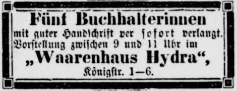 08_Vossische Zeitung_1899_07_04_Nr307_p23_Warenhaus-Hydra_Angestellte