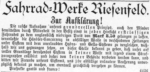 12_Rosenheimer Anzeiger_1900_08_21_Nr188_sp_Fahrradhandel_Schneeballsystem_Riesenfeld