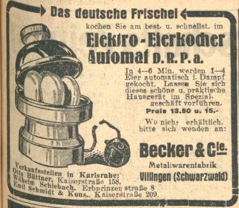 19_Badische Presse_1930_04_05_Nr162_p11_Elektrogeräte_Eierkocher_Frischeier_Becker_Villingen