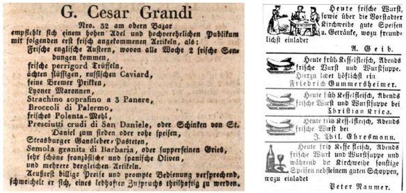 04_Münchner Tageblatt_1832_12_05_p1363_Neustadter Zeitung_1866_11_09_Nr264_p2_Frische_Feinkosthandel_Gaststätten
