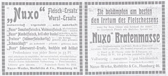 05_Vegetarische Warte_46_1913_H8_3Svp073_Fleischersatz_Wurstersatz_Bratenmasse_Würste_Nuxo_Rothfritz_Hamburg