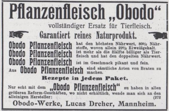 06_Vegetarische Warte_41_1908_Anzeigenanhang_Fleischersatz_Pflanzenfleisch_Obodo_Lucas-Dreher_Mannheim