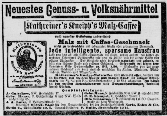 07_Berliner Tageblatt_1891_11_14_Nr578_p09_Ersatzkaffee_Malzkaffee_Kathreiner_Kneipp_Malzpräparate