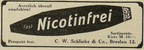 08_Lustige Blätter_29_1914_Nr02_p18_Lightprodukte_Zigarre_Entnikotinisiert_Schliebs_Breslau