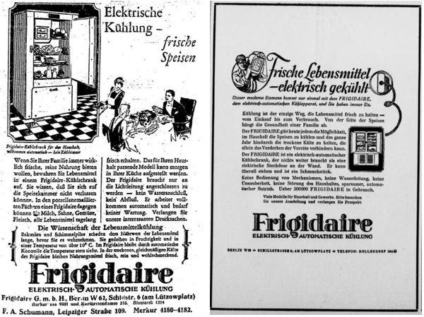 17_BZ am Mittag_1925_05_04_p07_Berliner Börsen-Zeitung_1927_05_01_Nr201_p10_Elektrogeräte_Kühlschrank_Frigidaire_Frische