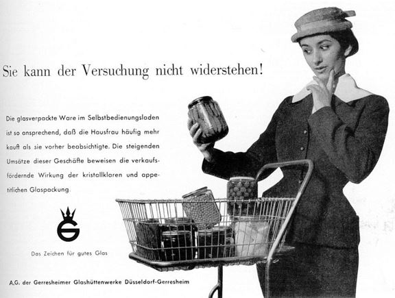 22_Neue Verpackung_09_1956_p445_Konsumentin_Einkaufswagen_Glas_Verpackung_Selbstbedienung_Konserve