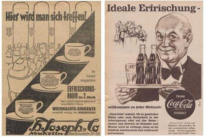 26_Vorwärts_1928_12_07_Nr578_p10_Kristall_09_1954_p150_Frische_Erfrischung_Erfrischungsraum_Erfrischungsgetränk_H-Joseph_Coca-Cola