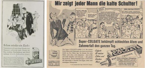 28_Das Magazin_04_1927-28_p1845_Kristall_14_1959_p130_Mundgeruch_Mundwasser_Odol_Zahnpasta_Colgate_Mann-Frau