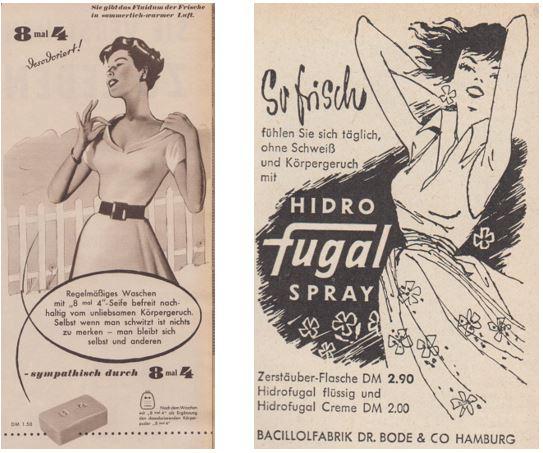 29_Kristll_09_1954_p709_Westermanns Monatshefte_096_1955_H05_p119_Frische_Seife_Deodorant_8-mal-4_Hidro-Frugal-Spray